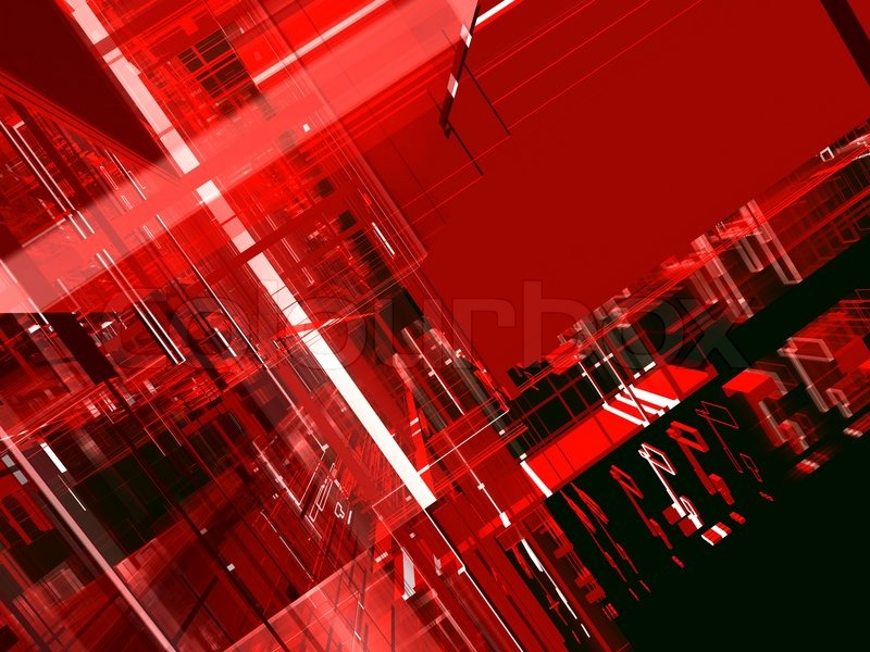 Abstract technological red urban luminous background with ...