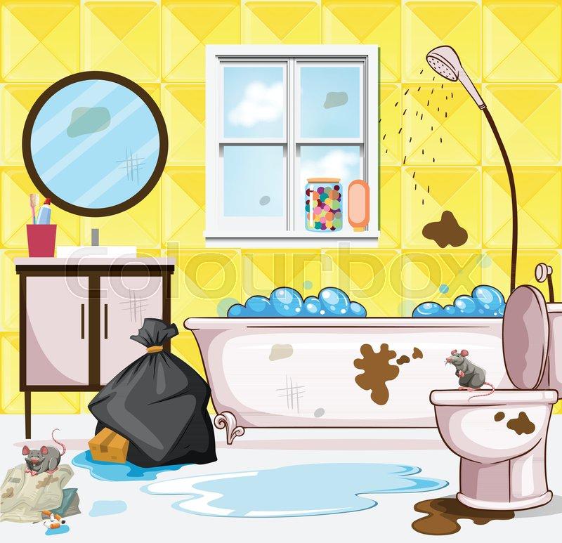 Dirty Bathroom Pics: Very Dirty Bathroom Scene Illustration