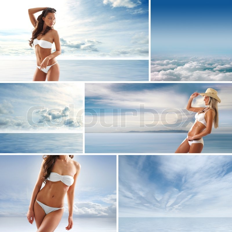 Spa collage with some nice shoots of young and healthy women getting recreation treatment, stock photo