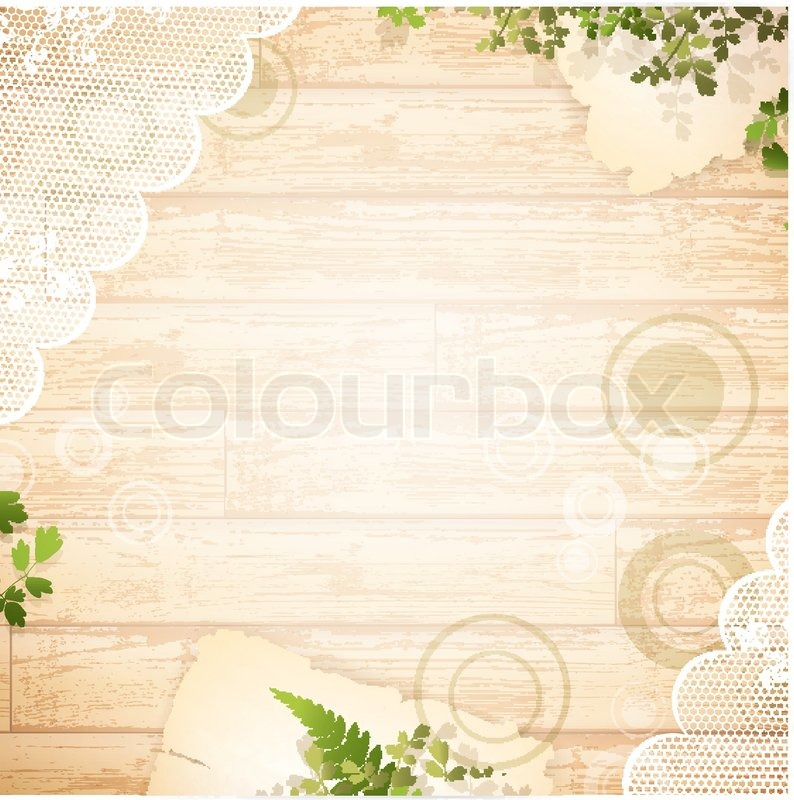 holz hintergrund mit spitze stoff und gr nen bl ttern vektorgrafik colourbox. Black Bedroom Furniture Sets. Home Design Ideas