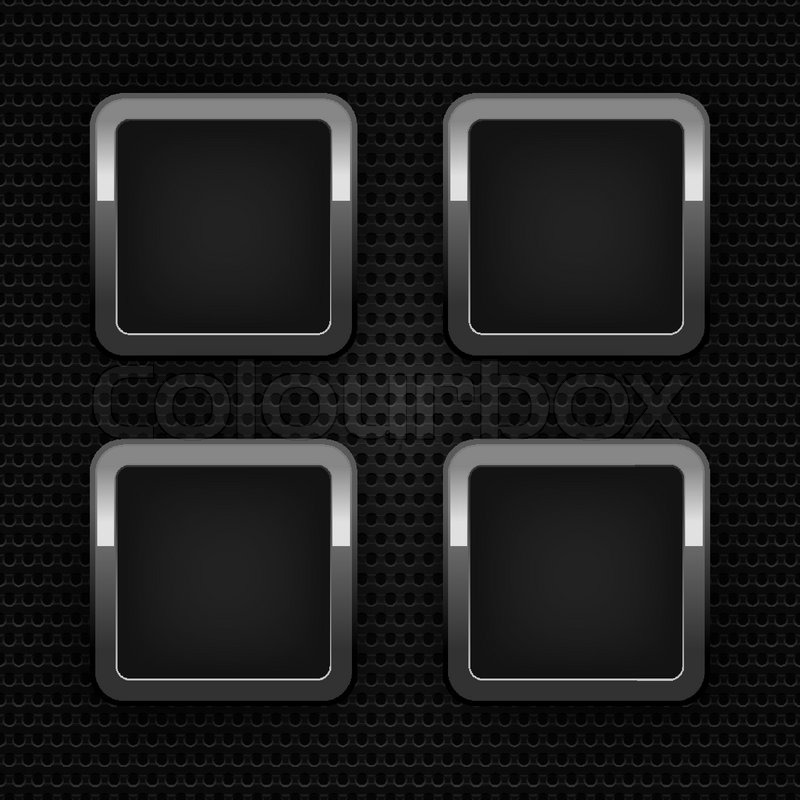 set chrome blank web buttons industrial sheet stock vector