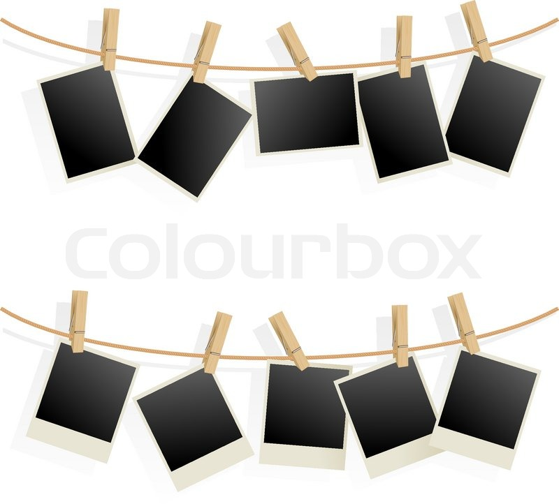 bilderrahmen auf seil illustration auf wei em hintergrund stock vektor colourbox. Black Bedroom Furniture Sets. Home Design Ideas