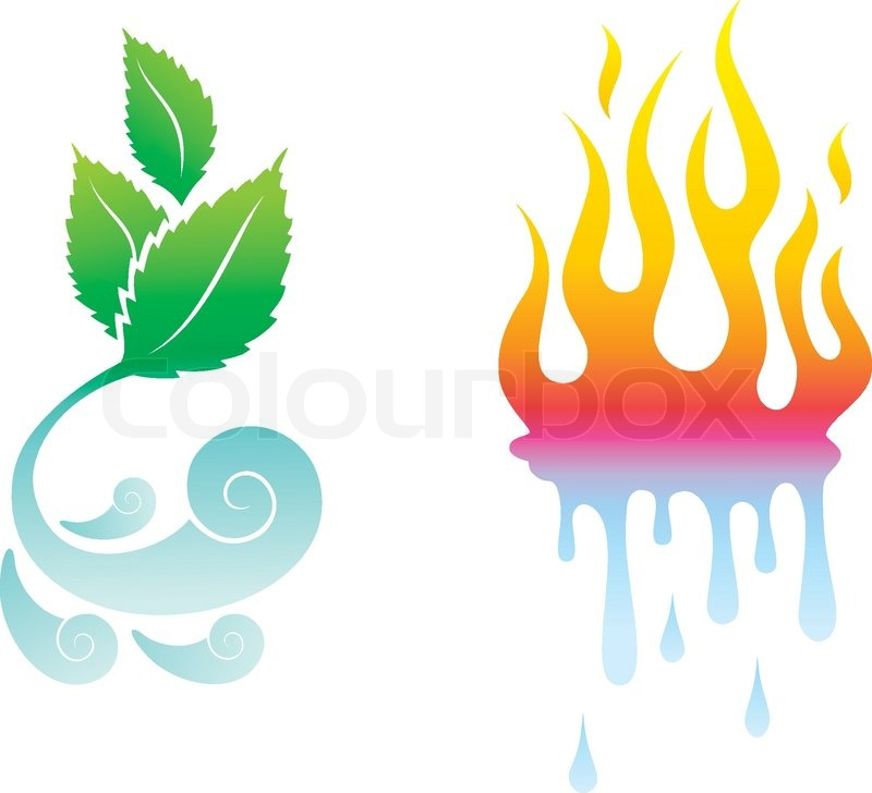 Vector Icons opposite the four natural elements | Stock Vector | Colourbox