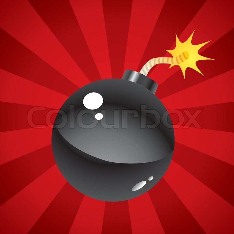 A Bomb With A Lit Fuse On A Red Background