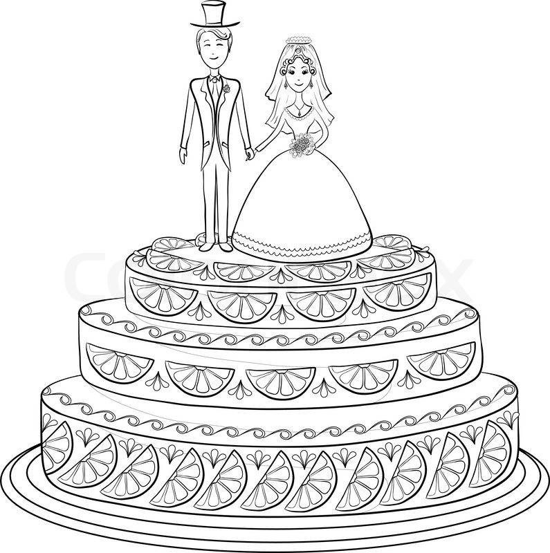 Holiday Wedding Pie With Bride And Groom Figurines Black Contour On White Background