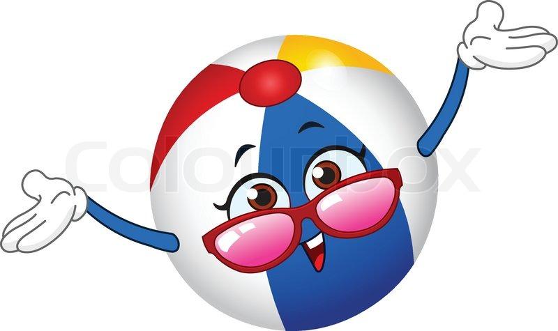 Cartoon beach ball raising her hands | Stock Vector ...