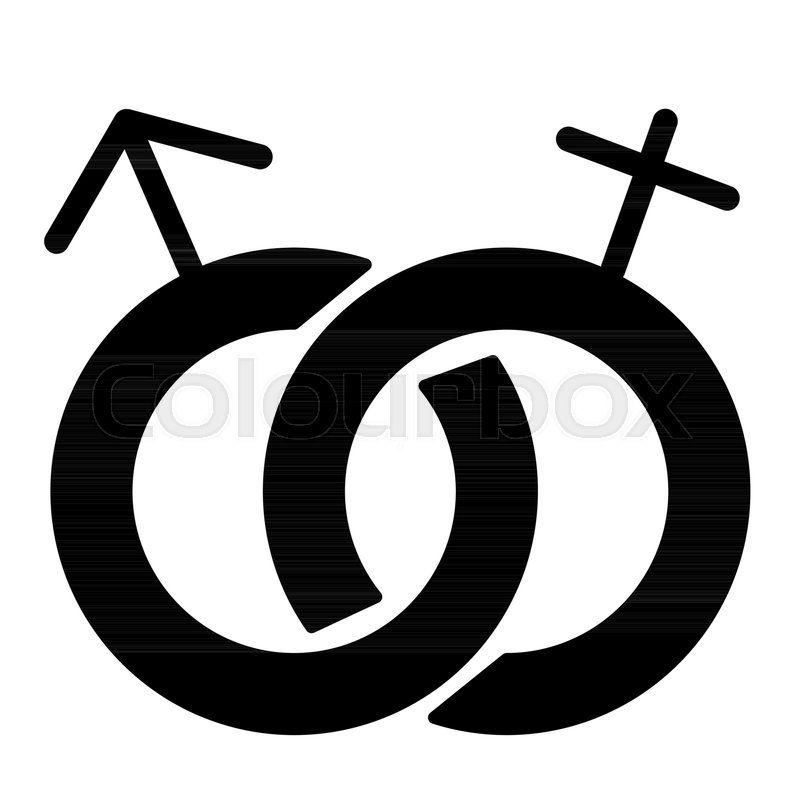 Heterosexual Symbol Solid Icon Gender Sign Vector Illustration
