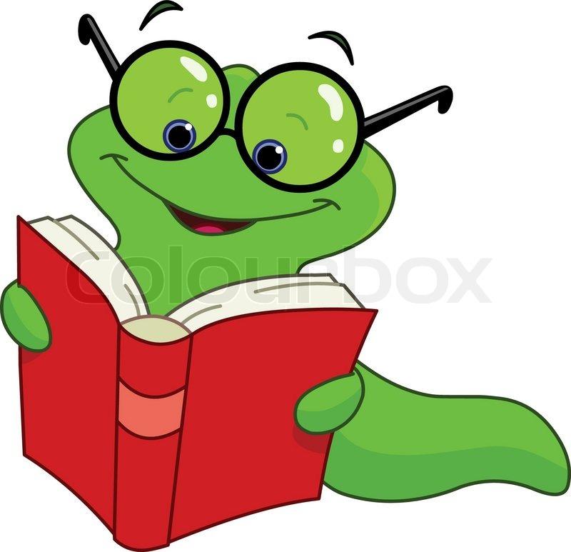 Bücherei clipart  Ug_worm2_reading | Vektorgrafik | Colourbox