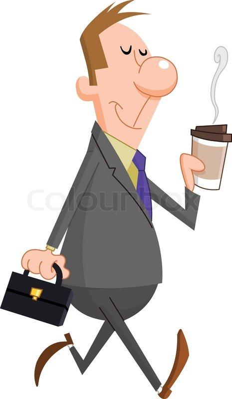 Geschäftsmann mit Papier Tasse Kaffee | Vektorgrafik ...