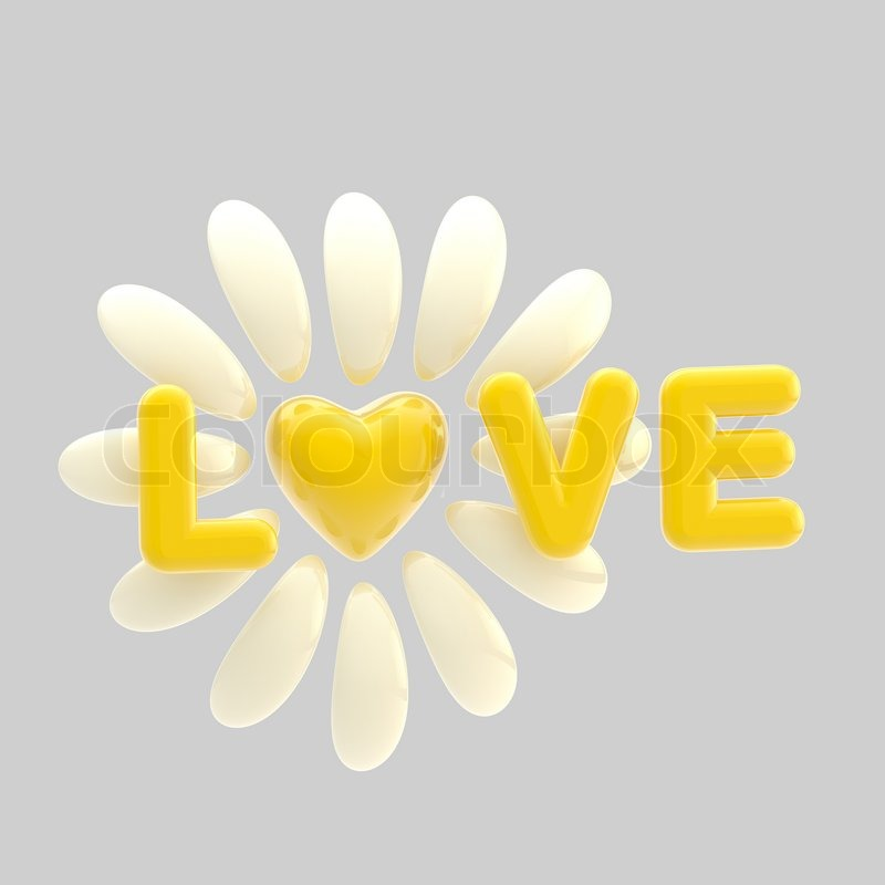 Love And Flower Made Of Glossy Yellow Heart And Petals