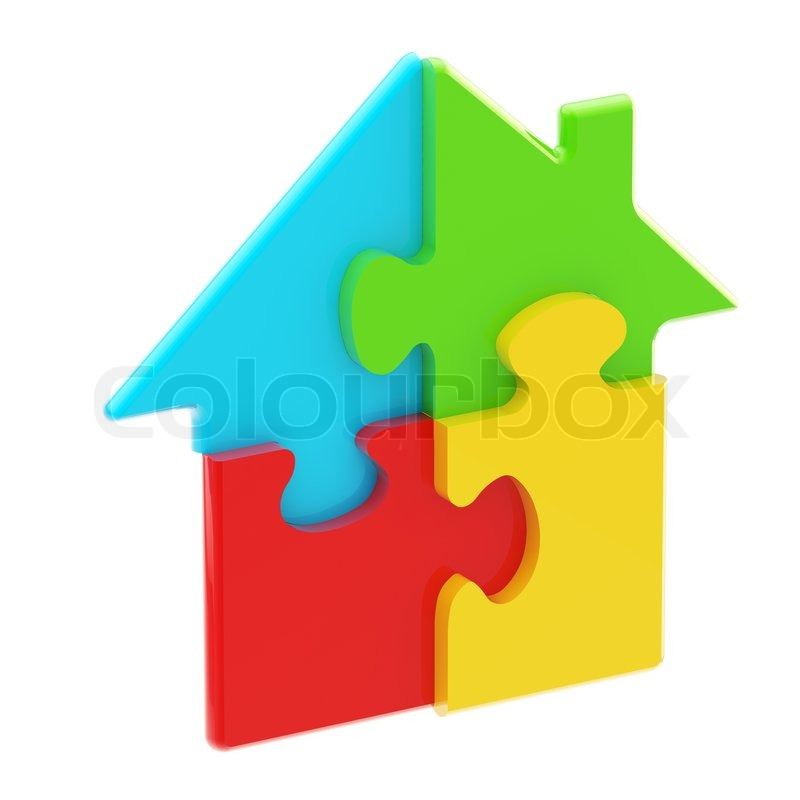 House icon made of colorful glossy puzzle pieces isolated on white | Stock Photo | Colourbox