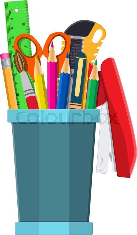 Pen Holder Office Equipment. Ruler, Knife, Pencil, Pen, Scissors. Office  Supply Stationery And Education. Vector Illustration Flat Style, Vector