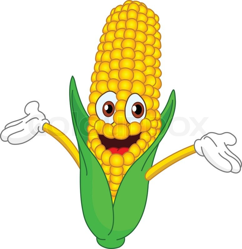 Stock vector of cheerful cartoon corn raising his hands