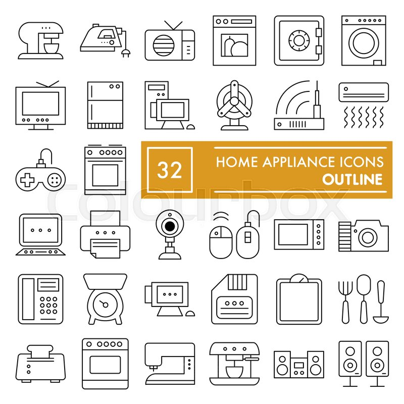 Home Appliance Thin Line Icon Set Household Symbols Collection