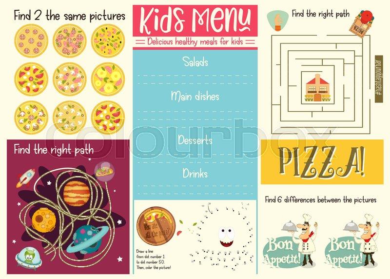 Kids menu template placemat for cafe pizzeria set of kids puzzles stock vector of kids menu template placemat for cafe pizzeria set of maxwellsz