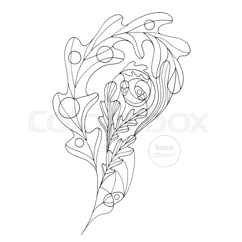Hand drawn oak leaf vector coloring book. Abstract autumn paisley ...