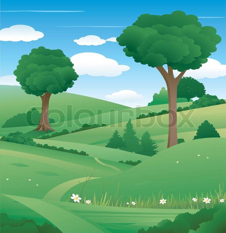 gr ne natur landschaft mit baum und wolken vektorgrafik