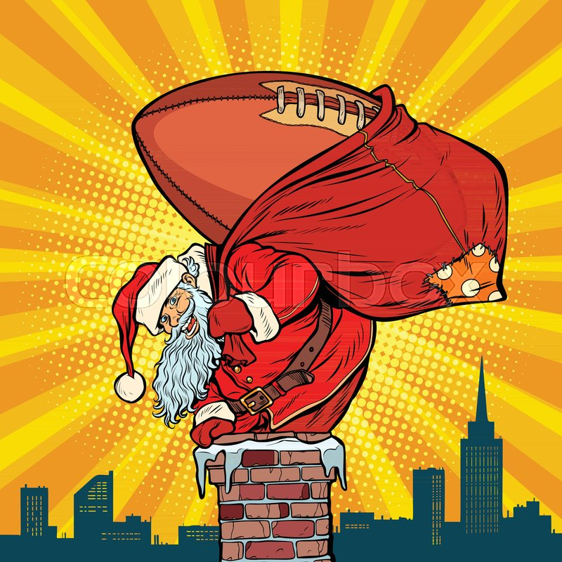 American Football Ball Santa Claus Stock Vector