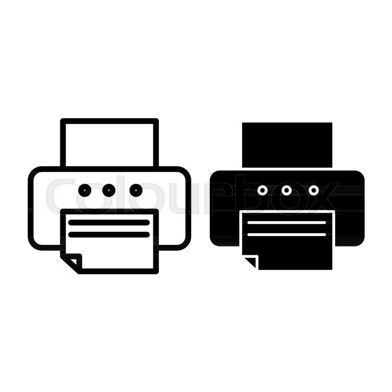 printer line and glyph icon fax stock vector colourbox printer line and glyph icon fax