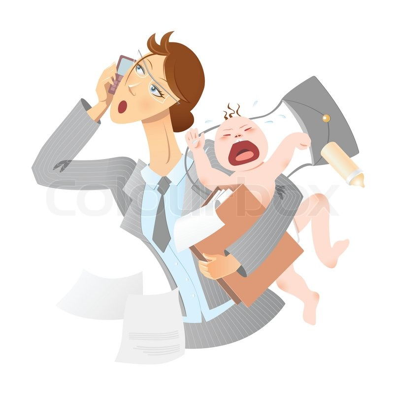 Image result for working mother and baby cartoon
