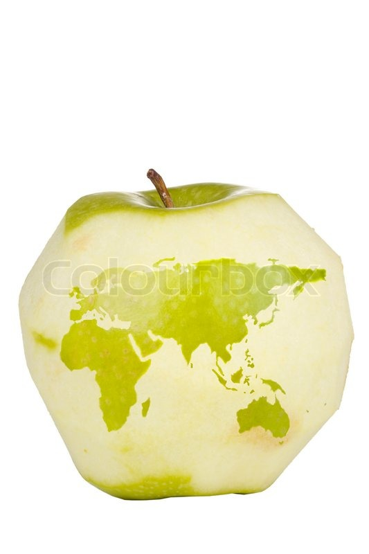 Green apple with a carving of the world map isolated on a white green apple with a carving of the world map isolated on a white background stock photo colourbox gumiabroncs Gallery