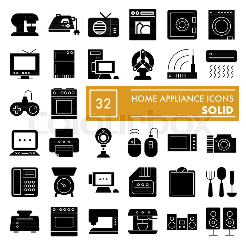 Home Appliance Glyph Icon Set Household Symbols Collection Vector