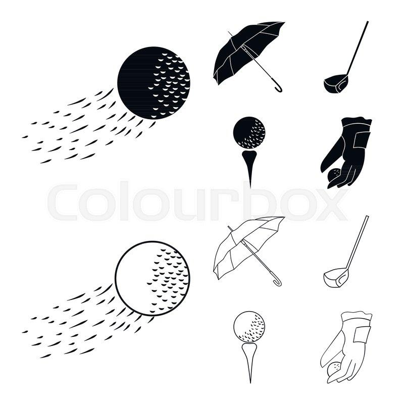 A Flying Ball A Yellow Umbrella A Golf Club A Ball On A Stand