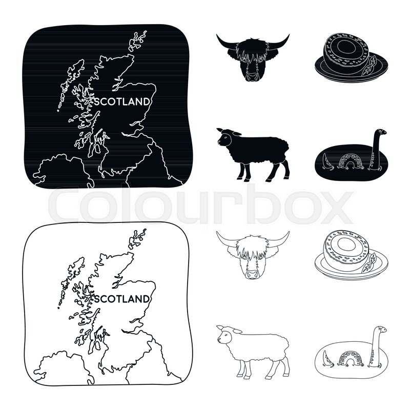 Territory On The Map Bull Head Cow Eggs Scotland Country Set