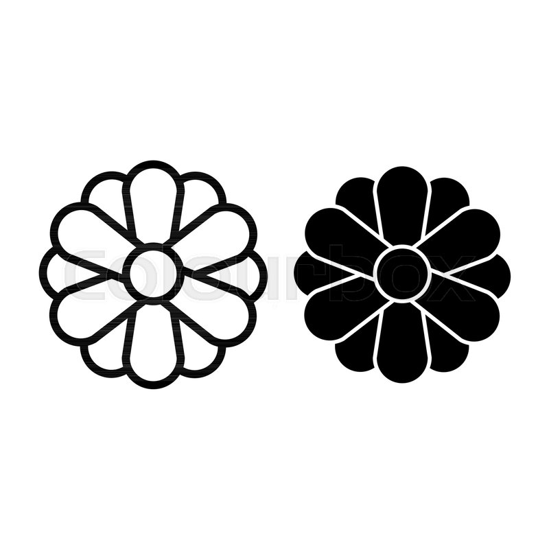 Flower Line And Glyph Icon Simple Stock Vector