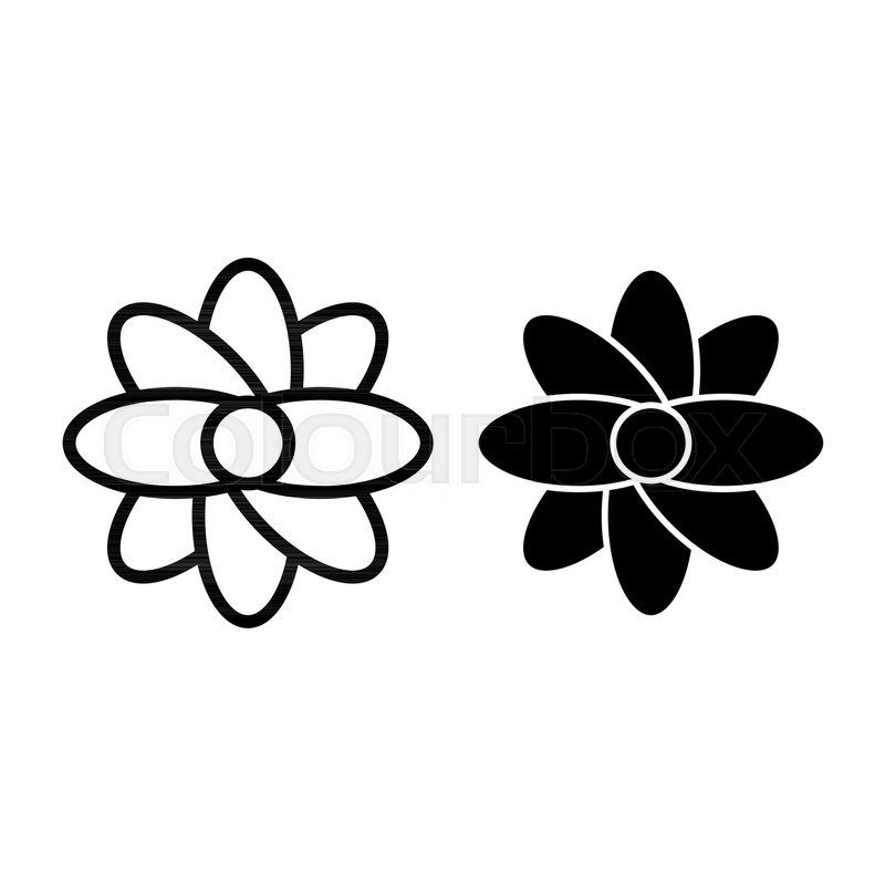 Abstract Flower Line And Glyph Icon Stock Vector