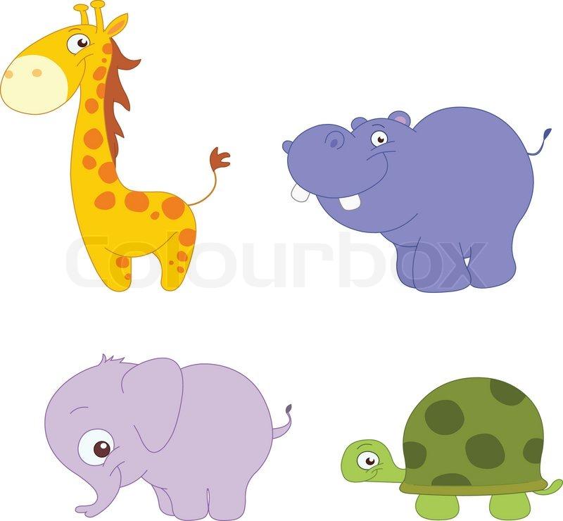 Illustration S 230 T Med S 248 De Dyr Giraf Flodhest Elefant Og