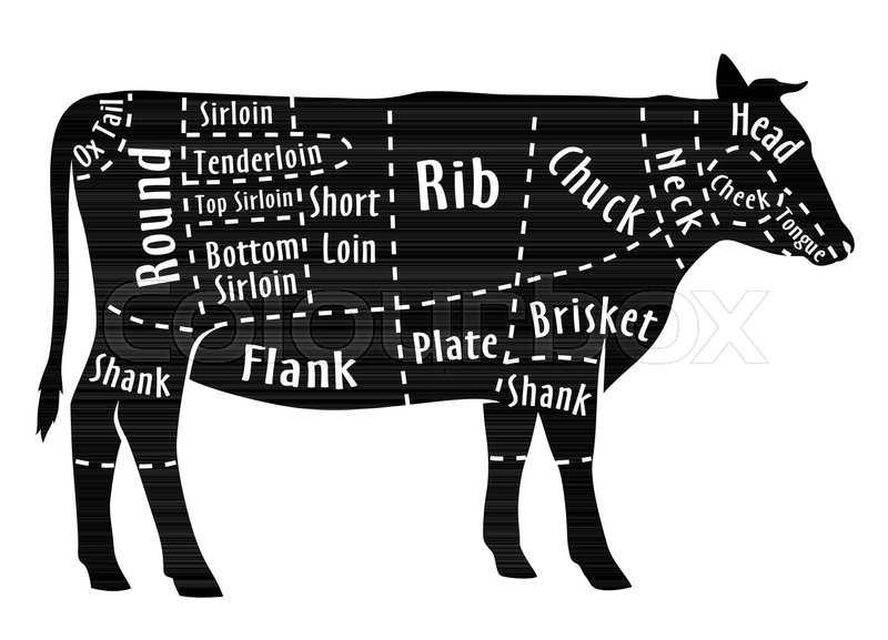 800px_COLOURBOX34444260 cut of beef, diagram for butcher poster for butcher shop guide for