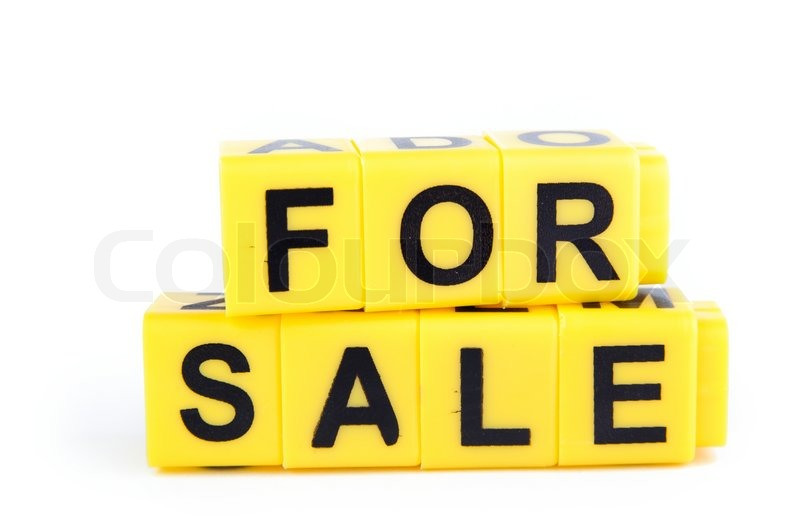an image of yellow blocks with words for sale on them stock
