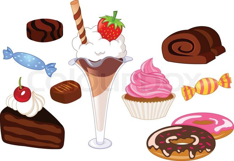 Desserts und s igkeiten gesetzt vektorgrafik colourbox - Dessert dessin ...