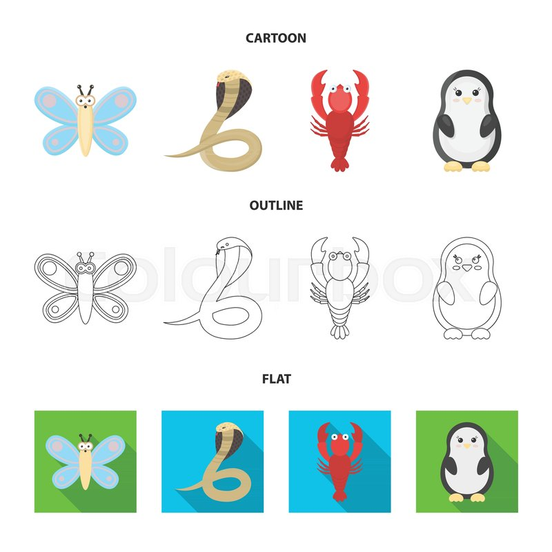 An Unrealistic Cartoonoutlineflat Animal Icons In Set Collection
