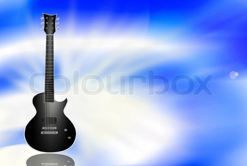 Black Electric Guitar On Light Blue Background Stock Photo Colourbox