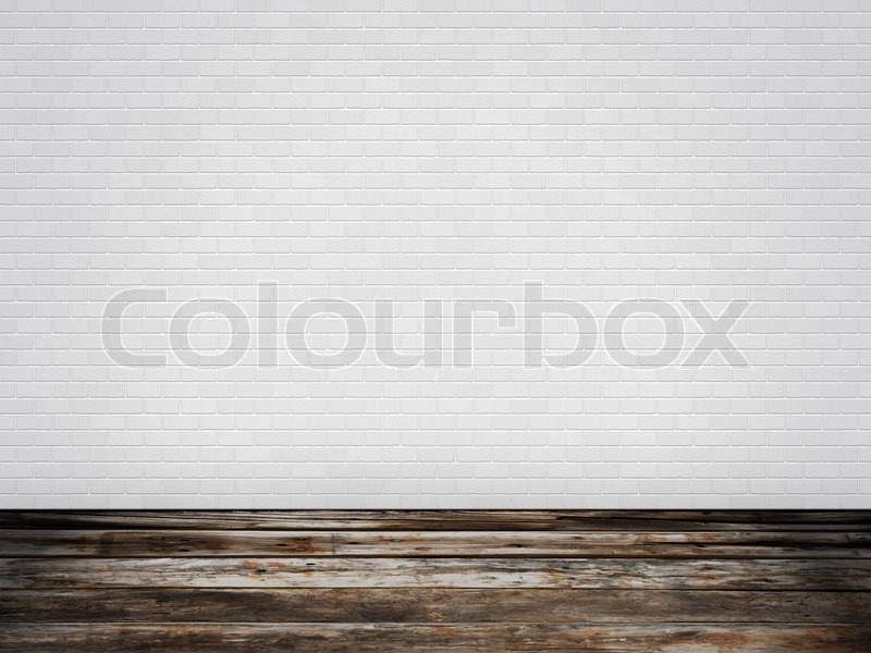raum mit holzfu boden und ziegelwand wei stockfoto colourbox. Black Bedroom Furniture Sets. Home Design Ideas