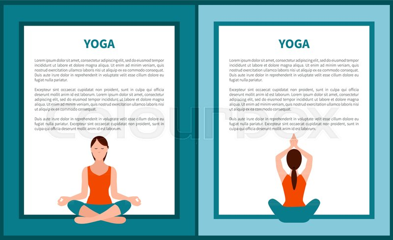 Yoga Banner Woman Holds Sitting Stock Vector Colourbox