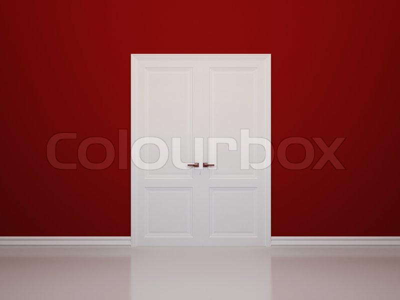 interior background with red walls and white double doors | stock