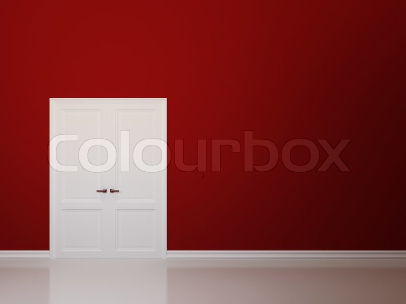 red walls and white door   stock photo   colourbox