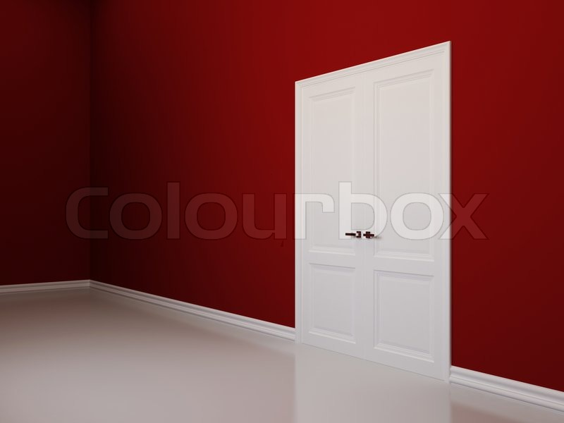 Interior background with red walls and white double doors Stock