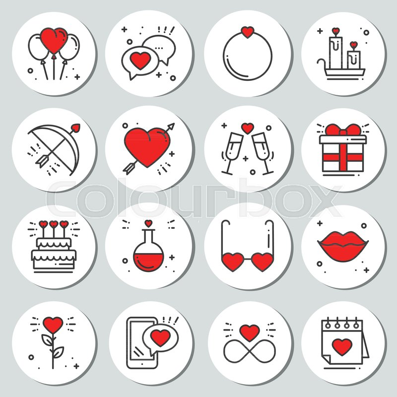 St Valentines Day Round Printable Stickers Set Romantic Labels