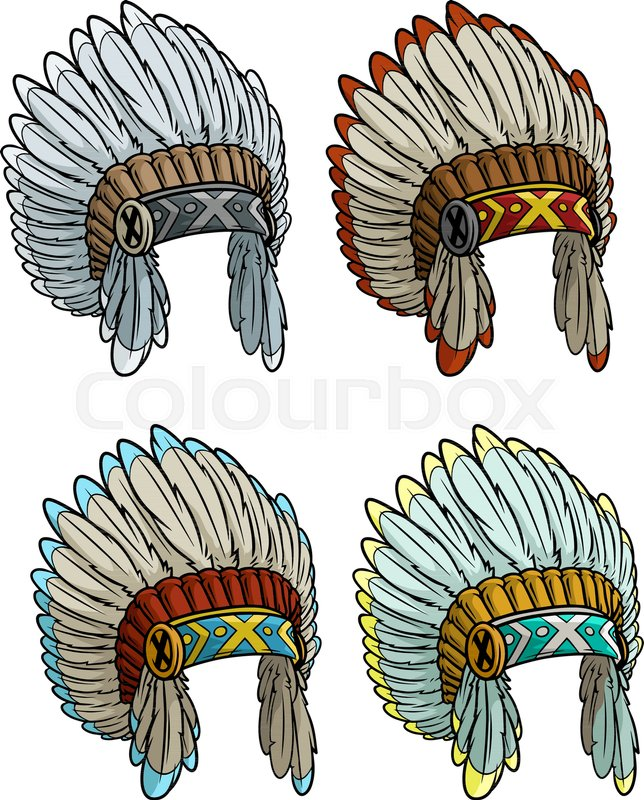 f5948ea82 Stock vector of 'Cartoon colorful native american indian chief headdress  isolated on white background.