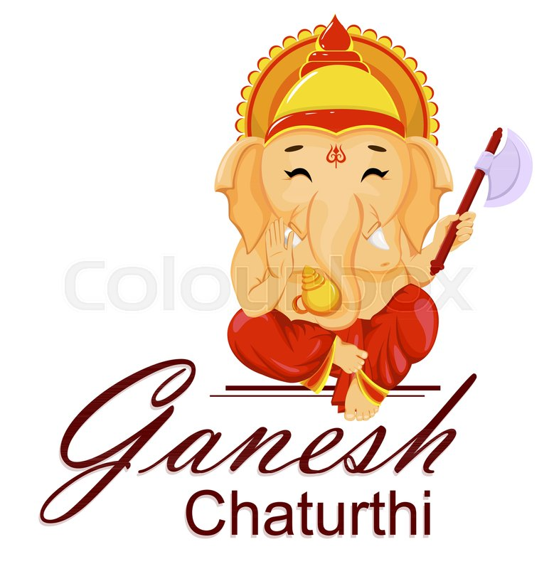 Happy ganesh chaturthi greeting card for traditional indian festival happy ganesh chaturthi greeting card for traditional indian festival lord ganesha in cartoon style vector illustration stock vector colourbox m4hsunfo