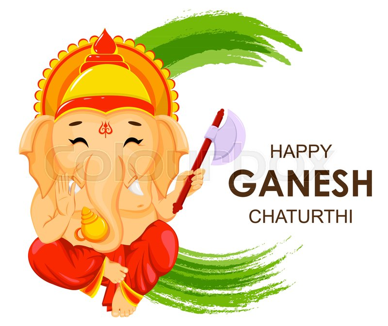 Happy ganesh chaturthi greeting card for traditional indian festival happy ganesh chaturthi greeting card for traditional indian festival lord ganesha in cartoon style vector illustration on green watercolor background m4hsunfo