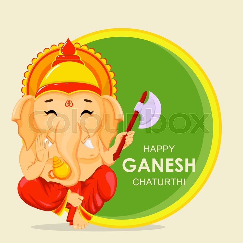 Happy ganesh chaturthi greeting card for traditional indian festival happy ganesh chaturthi greeting card for traditional indian festival lord ganesha in cartoon style vector illustration on background with green and yellow m4hsunfo
