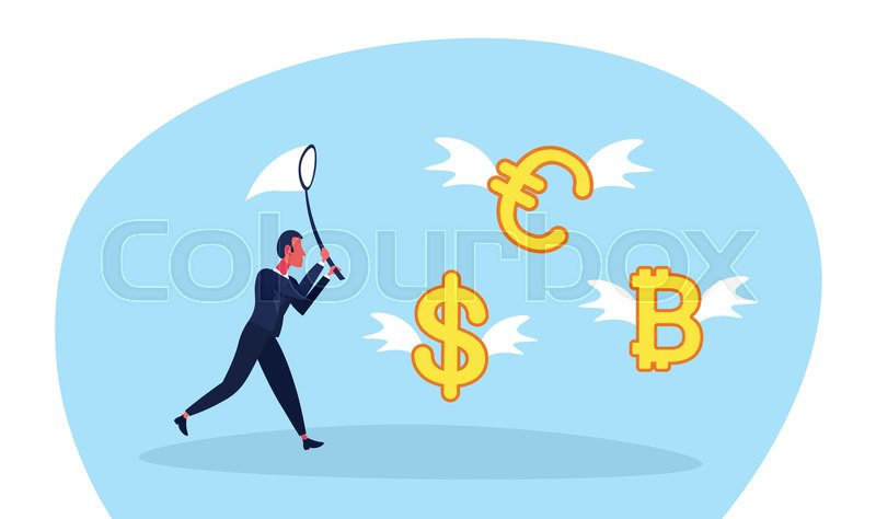 Businessman Holding Butterfly Net Catch Dollar Euro Bitcoin Money
