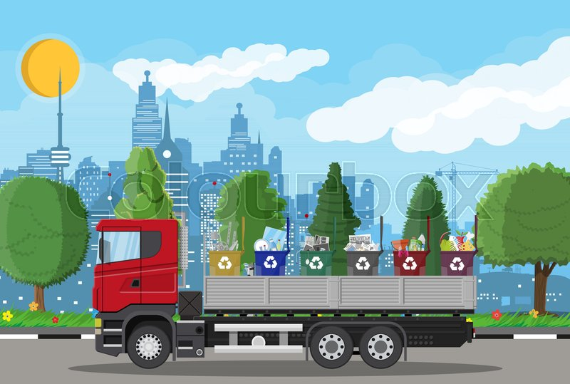 Truck transportation garbage. Car ... | Stock vector | Colourbox