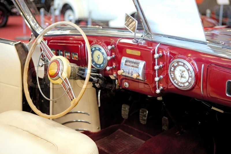 Retro Styled Classic Car Interior With Red Leather Upholstery And