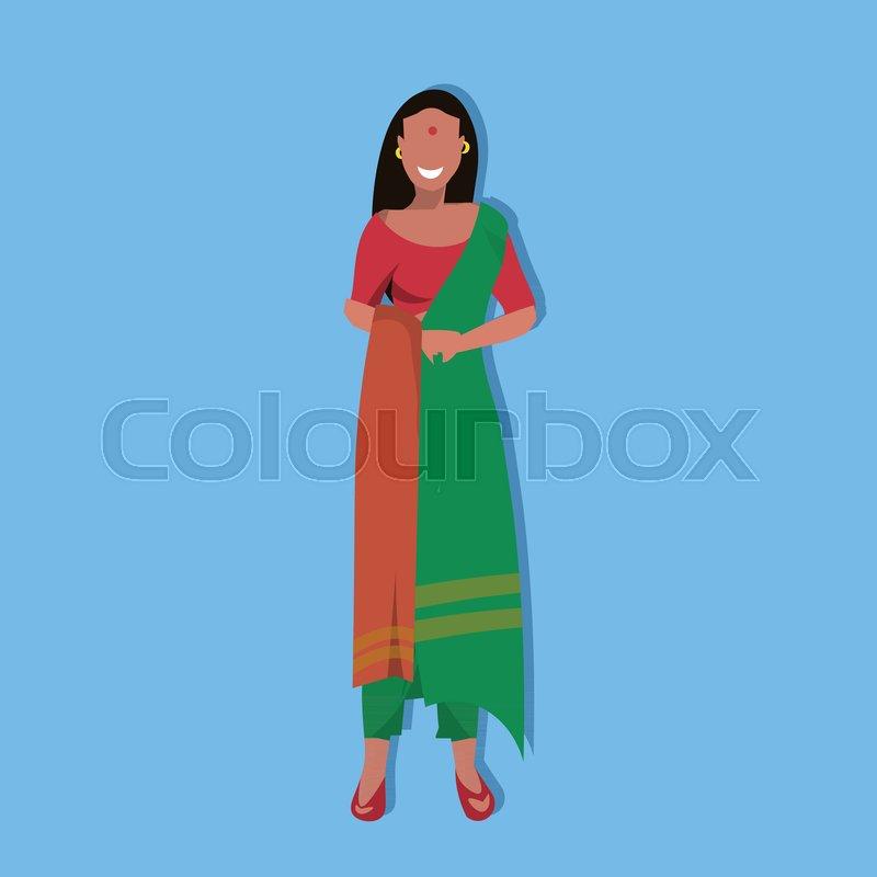 Indian Woman Bindi Standing In Stock Vector Colourbox